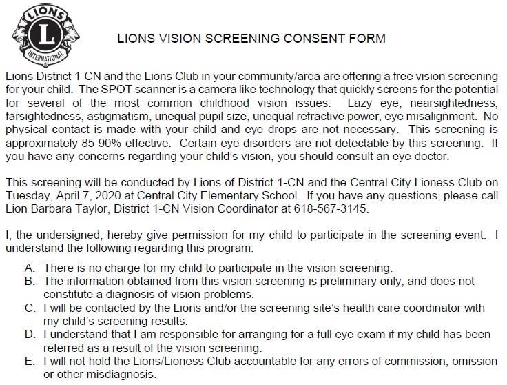 Lions Vision Screening 2020